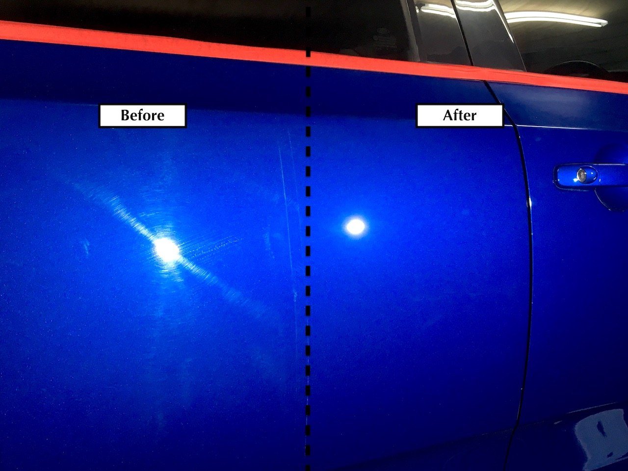 Before and after comparison of mobile car detailing - paint correction - in Newcastle NSW