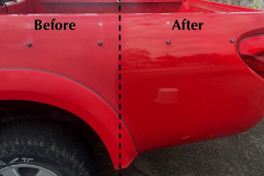 Before and after of paint correction on a red triton in Maitland NSW