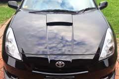 Mirror-like paintwork on a black celica detailed by Maitland Auto Detailing