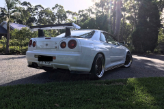 Back view of a paint protected white Skyline in Port Stephens NSW