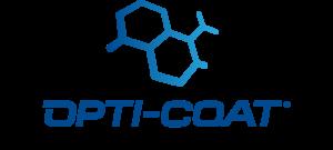 OptiCoat logo for ceramic coating - blue on transparent background